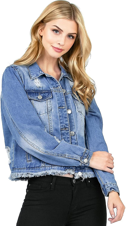 I & M Women's Juniors Classic Style Distressed Denim Jacket
