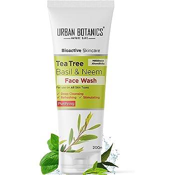 UrbanBotanics® 200ml Tea Tree, Basil & Purifying Neem Face Wash For Women daily use and Men - Paraben Free - SLES Free, 200ml
