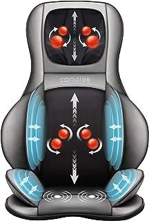 کمپرسور Shiatsu گردن و پشت ماساژور - 2D / 3D ماساژور کامل ماساژور با حرارت و قابل تنظیم هوا فشرده، پد صندلی ماساژ برای شانه ها و کمر پشت های کمر، تسکین درد کامل بدن