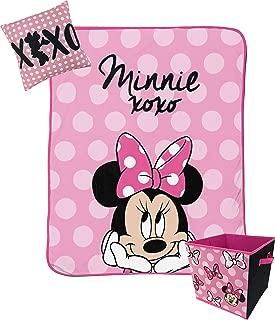 Jay Franco Disney Minnie Mouse XOXO Kids 3 Piece Plush Throw, Pillow & Collapsible Storage Box Set (Official Disney Product)