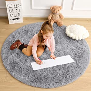 Cydiria Grey Round Rugs for Teens Girls Kids Bedroom, Cute Fluffy Circle Shaggy Area Rug Fuzzy Carpet for Baby Nursery Home Decor, 4Ft Soft Circular Rugs for Living Room, Plush Princess Castle Rugs