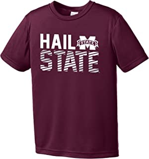 Image One Boys NCAA Diagonal Youth Short Sleeve Polyester Competitor T-Shirt, Maroon, S