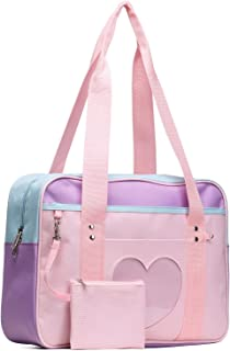 SteamedBun Ita Bag Heart Japanese Bag Girls Large Shoulder Purse Anime School Satchels for Cosplay