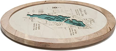 Fairmont Lakes (Amber, Hall, Budd, Sisseton, George) - Martin County - MN - Lazy Susan 17.5-3D Laser Carved Depth map with Glass Front.