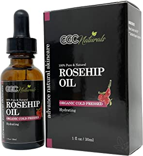 Sponsored Ad - GGC Naturals Rosehip Oil, 100% Pure Organic Unrefined Cold Pressed Anti Aging Rose Hip Moisturizer for Hair...