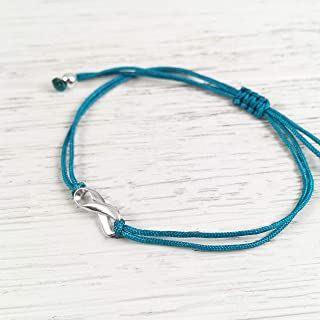 Teal Adjustable Thread, Friendship Support Bracelet, Small Sterling Silver Ribbon Shaped Charm. Awareness for Tourette Syndrome, PTSD, Cervical Ovarian Cancer, Food Allergy, Sexual Assault