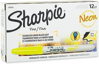 Sharpie 1878456 Neon Fine Point Permanent Marker, Neon Yellow, 12-Pack