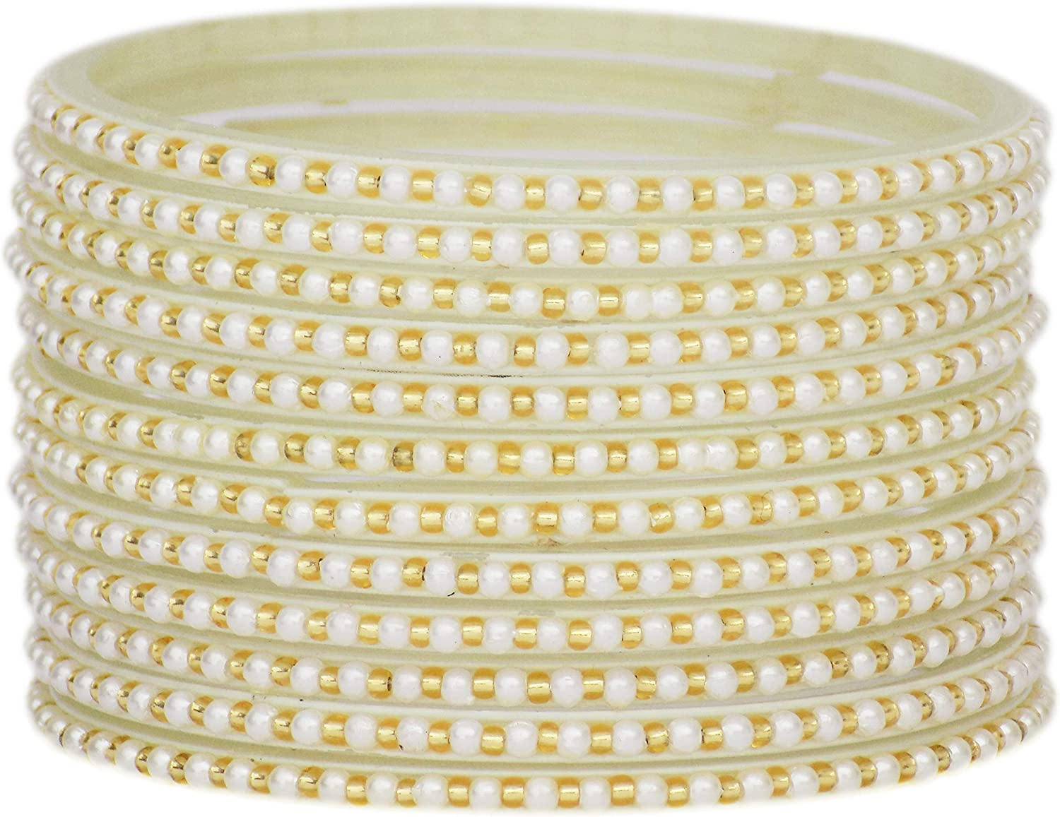 JD'Z COLLECTION Indian Bollywood Traditional Glass Bangles Set Churi Multi Color Bangle Bracelet for Women Jewelry Bangles White