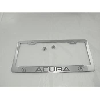 Fit Pontiac Polished Stainless Steel License Plate Frame with Caps