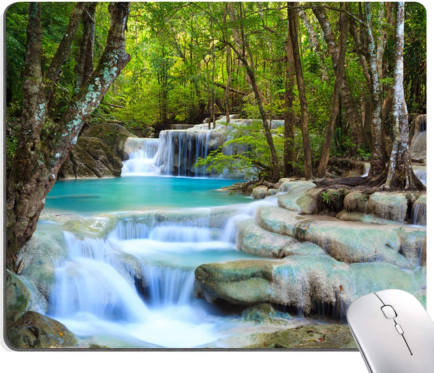 Waterfalls Forest Creek Indefinitely Mouse Pad Mesa Mall Mat Landscape Sq Trees