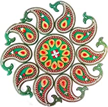 Handicraft Designer Rangoli - Jewel Stone Decorations and Red, Golden Accents on Green Acrylic Base - 16 inch dia - 11 piece set - packed in crystal box