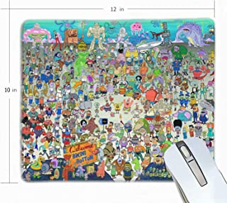 Spongebob Squarepants Gaming Mouse Pad Non-Slip Rubber Stitched Edges Mousepad 12 X 10 X 0.12 inches Rectangle Mouse Mat Smooth Surface Mouse Pads