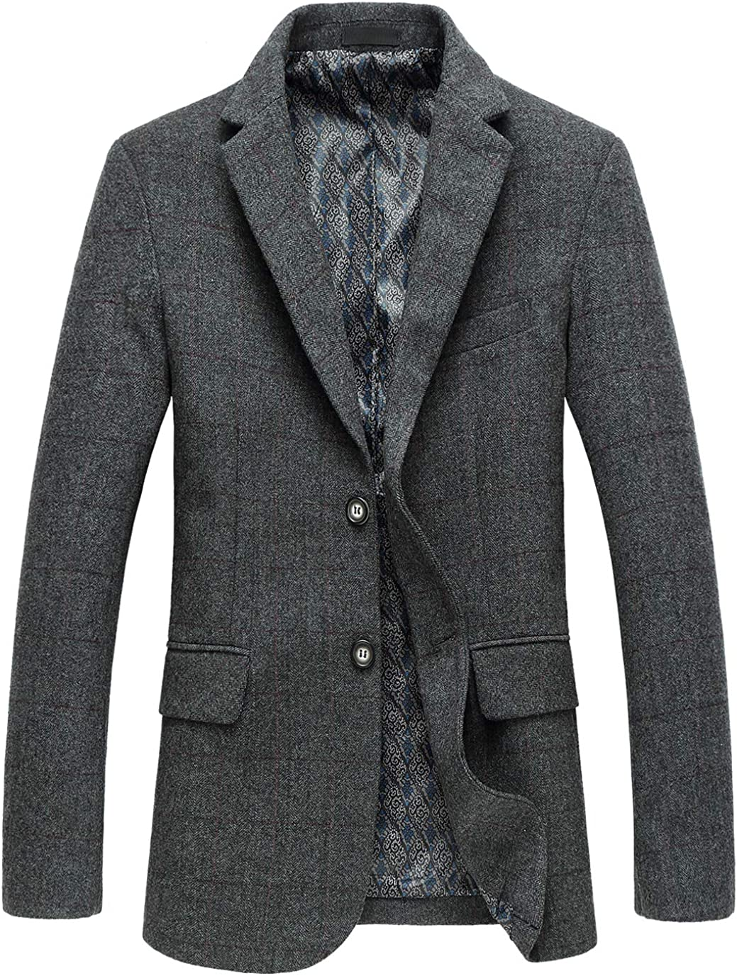 chouyatou Men's Classic Plaid Two-Button Wool Blend Tailored Suit Separate Coat