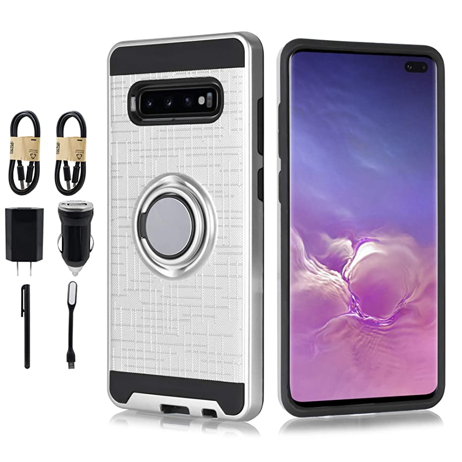 Compatible for Galaxy S10e Case S10 Lite Case, 6goodeals Case with Kickstand, Shock Absorption Slim Armor Protective Cover with Ring Stand [Accessory Bundle] (Silver)