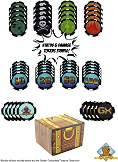 Golden Groundhog Custom Status Effects and Damage Counters Compatible with Pokemon - Includes Fire Poison Sleep GX Counter and 10-20 - 50-100 Damage Counters! Golden Groundhog Treasure Chest Box!