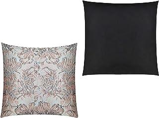 GIACALLON - Federe per Cuscino 2 pezzi - 50 x 50 cm Rosa Grigio Nero, double face Tessuto broccato ed ecopelle - Fatto a M...