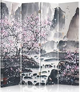 Feeby Frames Biombo Impreso sobre Lona, tabique Decorativo para Habitaciones, a una Cara, de 4 Piezas (145x180 cm), Cerezo Rosa
