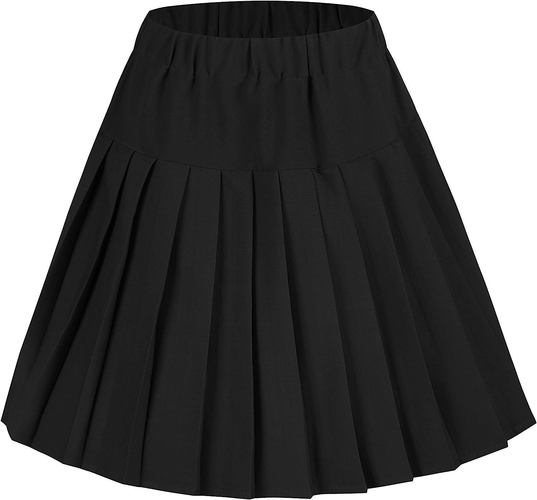 EXCHIC Women's Tartan Elastic Waist Pleated Plaid Skirt Skater Tennis School Mini Skirts
