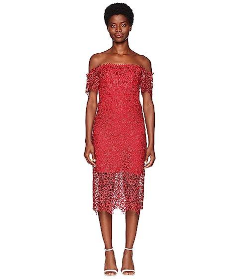 ML Monique Lhuillier Off Shoulder Lace Cocktail Dress