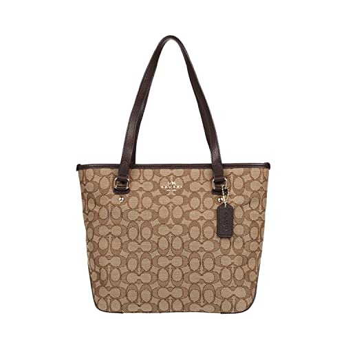 80f8c9e37f3a Coach Outline Signature Zip Top Tote Shoulder Bag