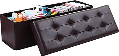 Ornavo Home Foldable Tufted Faux Leather Large Storage Ottoman Bench Foot Rest Stool/Seat - 15 x 45 x 15 (Espresso)