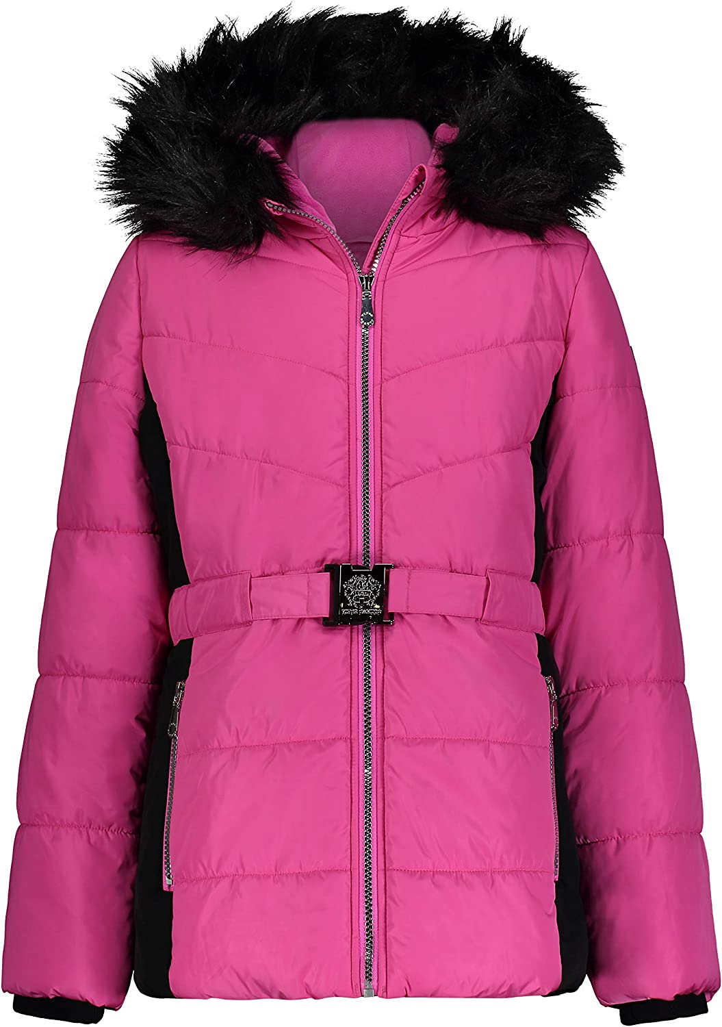Vince Camuto Girls' Warm Hooded Coat Jacket with Belt