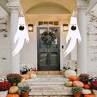 Homasky Halloween Hanging Ghost Decorations, Cute Ghosts for Tree Halloween Decor Outdoor, Friendly Halloween Hanging Ghos...