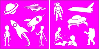 Auto Vynamics - STENCIL-ALIENS-10 - Classic Aliens & UFO's Stencil Set - Featuring Aliens, Astronauts, & More! - 10-by-10-inch Sheet - (2) Piece Kit - Pair of Sheets