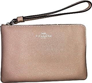 Coach Crossgrain Leather Glitter Corner Zip Wristlet