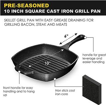 "CAST IRON GRILL PAN Lodge Pre Seasoned Steak Bacon Grilling Square Skillet 10.5/"""