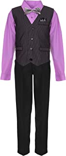 Vittorino Boys 4 Piece Suit Set with Vest Shirt Tie Pants and Hankerchief Yellow
