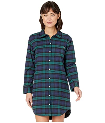 Vineyard Vines Blackwatch Flannel Sleep Shirt (Jet Black) Women