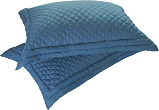 Lotus Home Microfiber Stain and Water Resistant Diamond Quilt Sham (2 Pack), Standard, Smoke Blue
