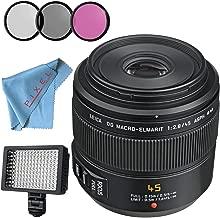 Panasonic Leica DG Macro-Elmarit 45mm f/2.8 ASPH. MEGA O.I.S. Lens + 46mm 3 Piece Filter Kit + Professional 160 LED Video Light Studio Series + Fibercloth Bundle