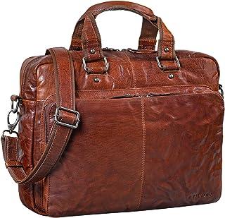 """STILORD """"Gero"""" Vintage Ledertasche Herren braun groß 14 Zoll Laptoptasche Umhängetasche Lehrertasche Aktentasche Arbeitstasche XL Uni Rindsleder"""