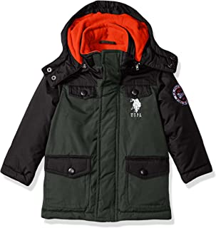 US Polo Association Toddler Boys' Outerwear Jacket (More Styles Available), UB49-Parka-Olive, 4T