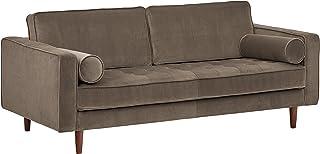 """Rivet Aiden Tufted Mid-Century Modern Velvet Bench Loveseat Sofa, 74""""W, Otter Grey"""