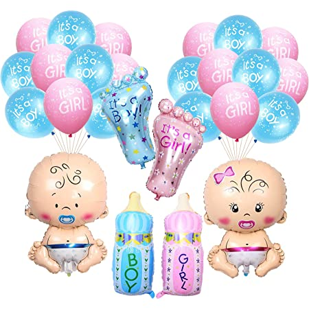Party Propz Baby Shower Balloons Decorations Material Set Combo -26PcS Boy Girl, Foil Balloon, Blue and Pink baby, Bottle Feet Ballon For,Pregnancy, Maternity, Photoshoot Material Items Supplies