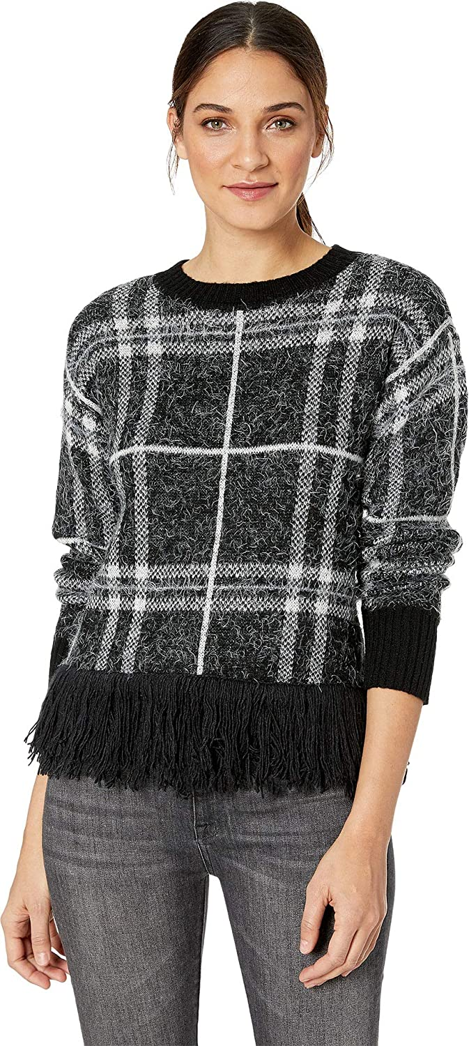 1.STATE Womens Eyelash Plaid Fringe Hem Sweater
