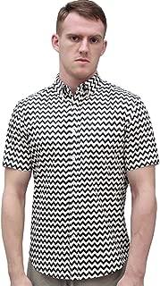 Men Zig Zag Print Stripe Short Sleeves Lapel Collar Button Up Shirt with Pocket