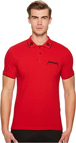 Red Polo Shirt with Star Embroidery