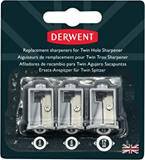 Derwent Twin Hole Sharpener, Set of 3, Replacement Battery Operated, Professional Quality, 2302353