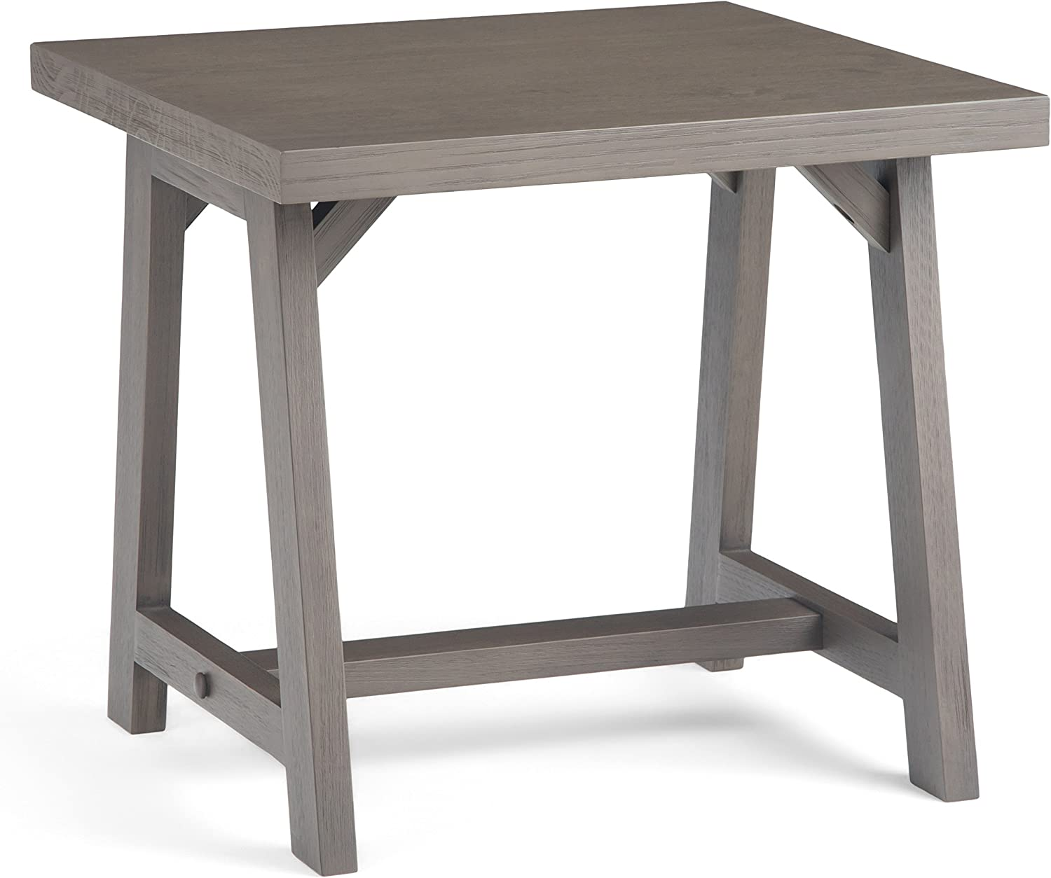 Simpli Home 3AXCSAW-02-FG Sawhorse Solid Wood 22 inch Wide Square Modern Industrial End Side Table in Farmhouse Grey
