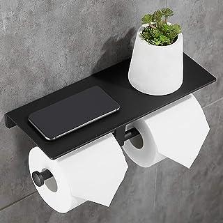 Gricol Double Rouleau Porte-Papier Toilette Espace En Aluminium Mur Monté Salle De Bains Papier De Stockage avec Support d...