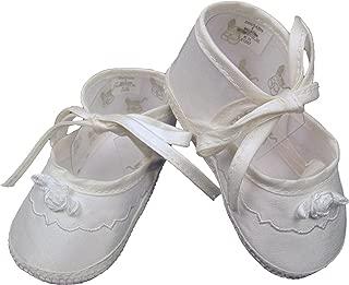 white silk christening shoes