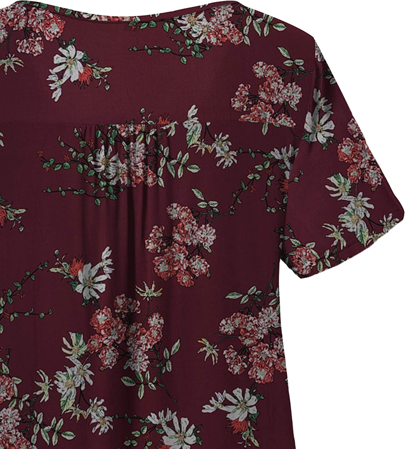 CPOKRTWSO Womens Plus Size Casual Tunic Tops Floral Blouses Long Sleeve Henley T Shirts for Women M-3XL