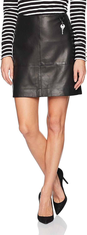 Kenneth Cole New York Womens Leather Seamed MiniSkirt Skirt