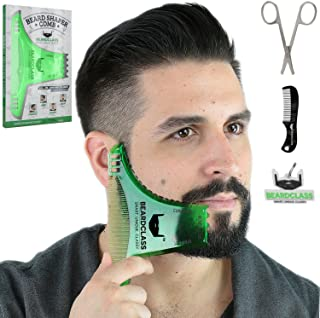 BEARDCLASS Beard Shaping Tool - 8 in 1 Comb Multi-liner Beard Shaper Template Comb Kit Transparent - Works with any Beard Razor Electric Trimmers or Clippers (Clear Green)