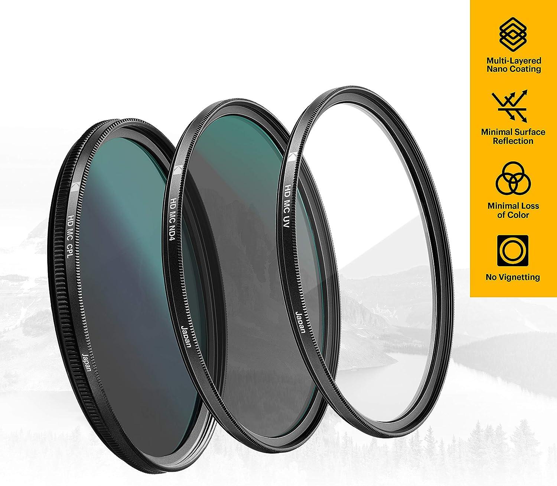 Absorb Atmospheric Haze CPL /& ND4 Filters for Various Photo-Enhancing Effects Multi-Coated Glass /& Mini Guide Reduce Glare Prevent Overexposure KODAK 105mm Filter Set Pack of 3 Premium UV Slim