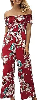 Womens Jumpsuits Floral Print Off Shoulder Romper Casual Strapless Wide Leg Pants Jumpsuit White S